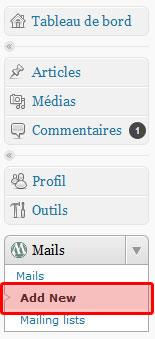 """Sélection """"add new"""" pour préparer un nouvel email."""