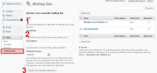 """La page de création d'une liste de diffusion ou """"mailing list""""."""